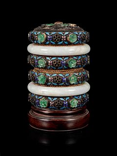 A Jadeite and Hardstone Inset Enameled Jewelry Box and Cover Height 4 1/4 in., 10.8 cm.