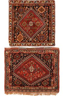 Two Antique Persian Gashgai bags, 1 ft 9 in x 1 ft 9 in & 1 ft 10 in x 2 ft 3 in