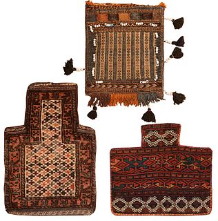 Collection of three Persian Salt bags 1 ft 5 in x 1 ft 9 in & 1 ft 2 in x 1 ft 6 in & 1 ft 6 in x 1 ft 7 in