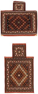 7004 TWO ANTIQUE PERSIAN SALT BAGS, 1 ft 9 in x 1 ft 9 in & 1 ft 5 in x 2 ft 5 in