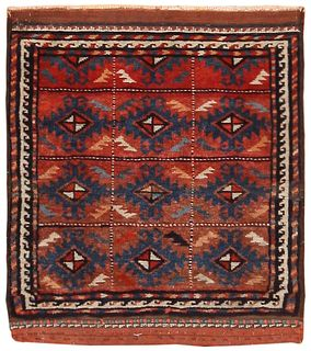 Antique Persian Balouch , 1 ft 7 in x 1 ft 8 in ( 0.48 m x 0.50 m )