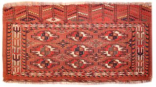 Antique Turkman Yomud Chuval , 2 ft 4 in x 4 ft 3 in ( 0.71 m x 1.30 m )