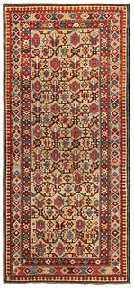 Antique Caucasian Chi-Chi rug , 3 ft 3 in x 6 ft 10 in ( 0.99 m x 2.08 m )