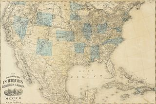 """AN ANTIQUE MAP, """"New Railroad Map of the United States, the Dominion of Canada, Mexico and the West Indies,"""" CHICAGO, CIRCA 1875,"""