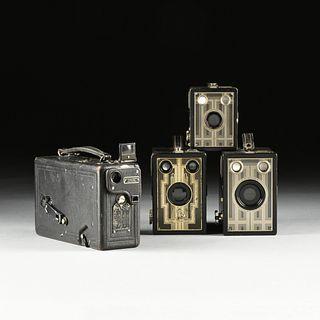 AN AMERICAN KODAK GROUP OF THREE BROWNIE CAMERAS AND A CINE KODAK MODEL B MOVIE CAMERA, NEW YORK, 1923-1941,