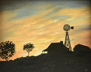 """MARY ZIRKEL (American/Texas 20th/21st Century) A PAINTING, """"Sunset at the Pioneer House,"""""""