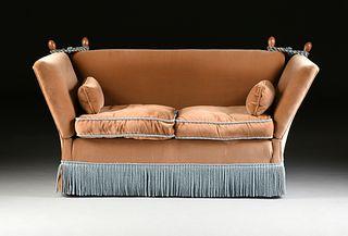 A KNOLE STYLE VELVET UPHOLSTERED LOVE SEAT, MODERN,