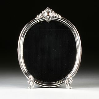 A ROCOCO REVIVAL SILVERPLATED TABLE TOP MIRROR, POSSIBLY ENGLISH, LATE 19TH CENTURY,