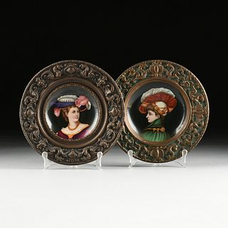 A PAIR OF RENAISSANCE REVIVAL ENAMELED PORCELAIN PLATES WITH REPOUSSÉ BORDER, PROBABLY ITALIAN, LATE 19TH/EARLY 20TH CENTURY,