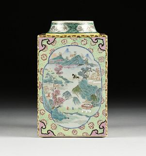 A CHINESE EXPORT FAMILLE ROSE SQUARE PORCELAIN JAR, 20TH CENTURY,