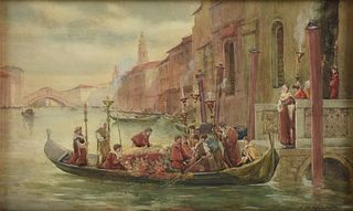 """JAMES W. MILLIKEN (British fl. 1887-1930) A PAINTING, """"Procession in the Bruges Canal,"""""""