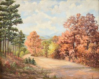 """NORMA LOUISE ALCOTT KNIGHT (American/Texas 1910-2005) A PAINTING, """"Pines on the Path in Fall Landscape,"""""""