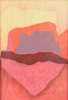 """ROBERT LIVSEY WELLS (American 20th/21st Century) A PRINT, """"Abstract in Red,"""""""