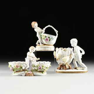 A GROUP OF THREE GERMAN PORCELAIN FIGURAL COMPOTES, MARKED, 20TH CENTURY,