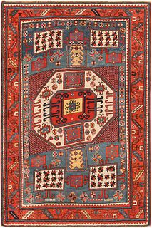 Antique Caucasian Karachopt Kazak , 4 ft 9 in x 7 ft 2 in ( 1.45 m x 2.17 m )