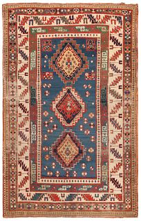 Antique Caucasian Kazak , 4 ft 7 in x 7 ft 6 in ( 1.38 m x 2.23 m )