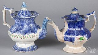 Two blue spatter teapots