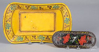 Yellow toleware bread tray, etc.