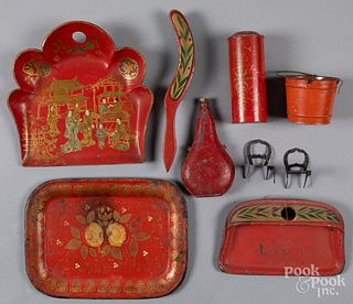 Red painted tin, lacquer, etc.