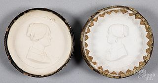 Two chalkware profile portrait plaques, 19th c.