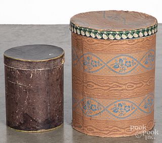 Two cylindrical hat boxes, 19th c.