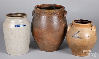 Three stoneware crocks, 19th c.
