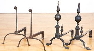 Two pairs of wrought iron andirons, etc.