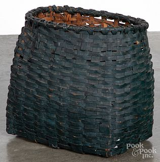 Green painted gathering basket, 19th c.