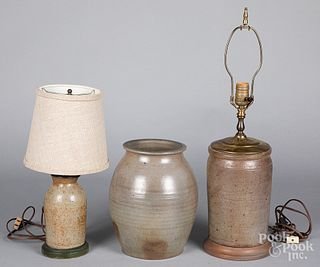 Two stoneware table lamps and a crock, 19th c.