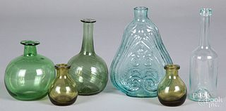 Blown aqua glass flask, etc.