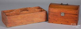 Pine tool carrier and dome lid box, 19th c.
