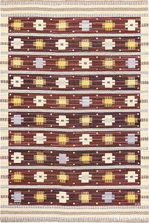 Vintage Swedish Kilim ,6 ft 8 in x 10 ft (2.03 m x 3.05 m)