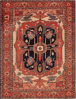 Antique Persian Serapi carpet ,8 ft 9 in x 11 ft 7 in ( 2.67 m x 3.53 m )