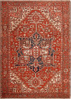 Antique Persian Heriz carpet , 10 ft x 13 ft 10 in ( 3.05 m x 4.22 m )