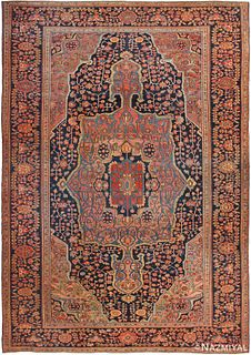 Antique Persian Sarouk Farhan , 9 ft 6 in x 13 ft 6 in ( 2.9 m x 4.11 m)