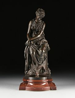 "MATHURIN MOREAU (French 1822-1912) A BRONZE SCULPTURE, ""Psyche,"""