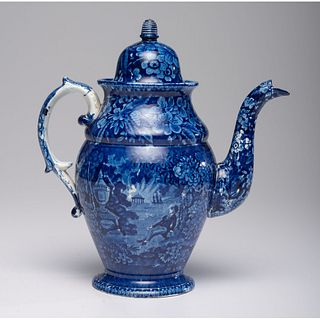 A Staffordshire Blue Transfer 'Tomb of Franklin' Coffee Pot
