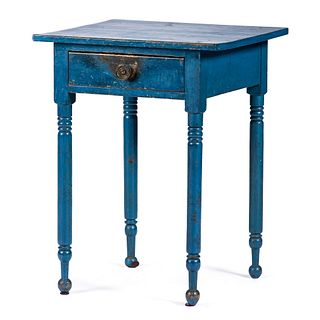 A Federal Bubble Gum Blue Painted Pine One Drawer Stand