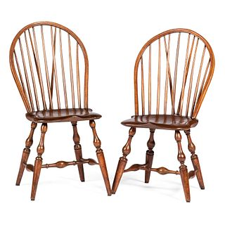 Two Mixed Wood Brace Back Windsor Chairs