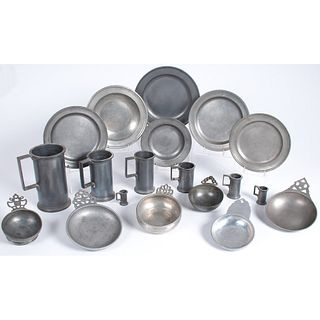 A Group of Pewter Measures, Porringers and Plates