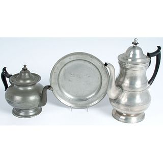 A Gleason Pewter Teapot & Boardman Coffee Pot and Plate