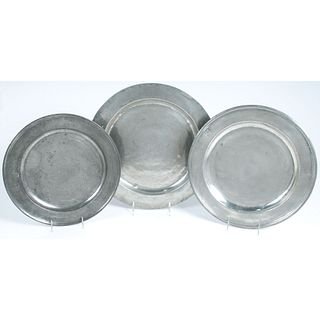 Three English Pewter Chargers
