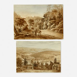 Augustus Kollner, Highland Roadway with River Near Bedford, Pennsylvania and Mountain View Near Bedford, Pennsylvania (two works)