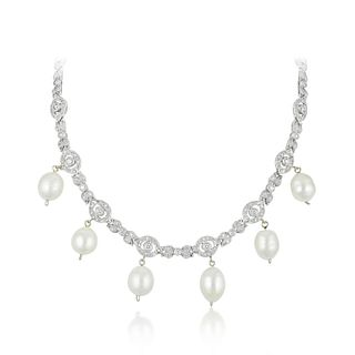 Art Deco Style Diamond and Freshwater Pearl Necklace