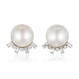 Mabe Cultured Pearl and Diamond Earrings