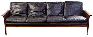 Hans Olsen for Vatne Mobler Leather Sofa
