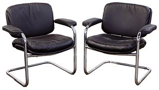 MCM Chrome and Leather Armchairs