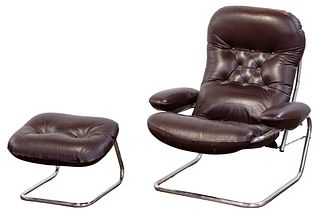 MCM Leather and Chrome Chair and Ottoman