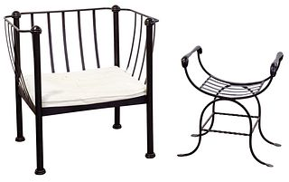 MCM Wrought Iron Club Chair and Bench