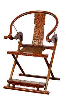 Asian Huanghuali Folding Horseshoe Back Armchair